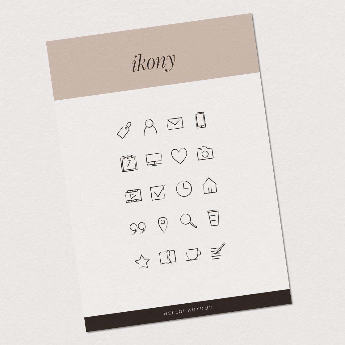 Hello! Autumn - ikony, zestaw ikon, ikony nastronę | Gotowa identyfikacja wizualna | Hello! Beautiful brand | Sklep Moyemu
