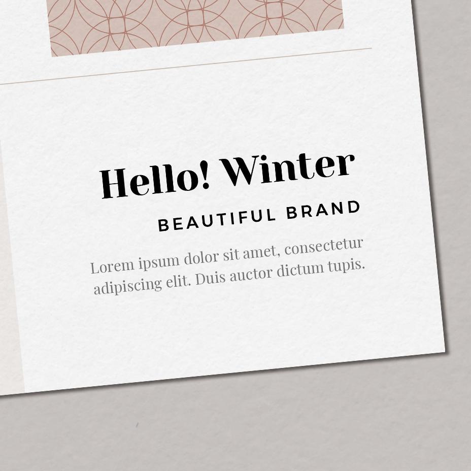 Hello! Winter - typografia dla marki, zestaw fontów marki, czcionki nastronę | Gotowa identyfikacja wizualna dla marki zimowej, osobowość zimowa | Hello! Beautiful brand | Sklep Moyemu